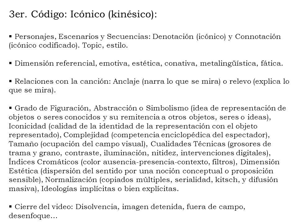 3er. Código: Icónico (kinésico): Personajes, Escenarios y Secuencias: Denotación (icónico) y Connotación (icónico codificado). Topic, estilo. Dimensió