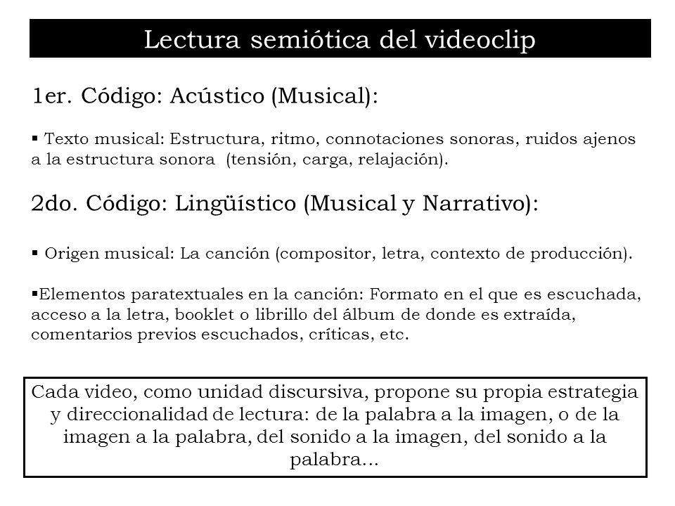Lectura semiótica del videoclip 1er. Código: Acústico (Musical): Texto musical: Estructura, ritmo, connotaciones sonoras, ruidos ajenos a la estructur