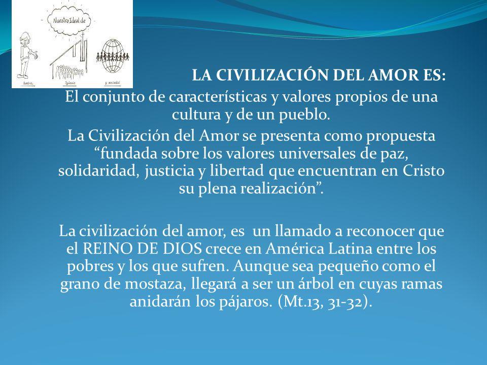 LA CIVILIZACIÓN DEL AMOR ES: El conjunto de características y valores propios de una cultura y de un pueblo. La Civilización del Amor se presenta como