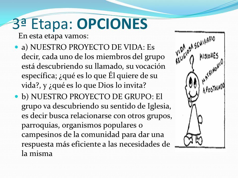 3ª Etapa: OPCIONES En esta etapa vamos: a) NUESTRO PROYECTO DE VIDA: Es decir, cada uno de los miembros del grupo está descubriendo su llamado, su voc