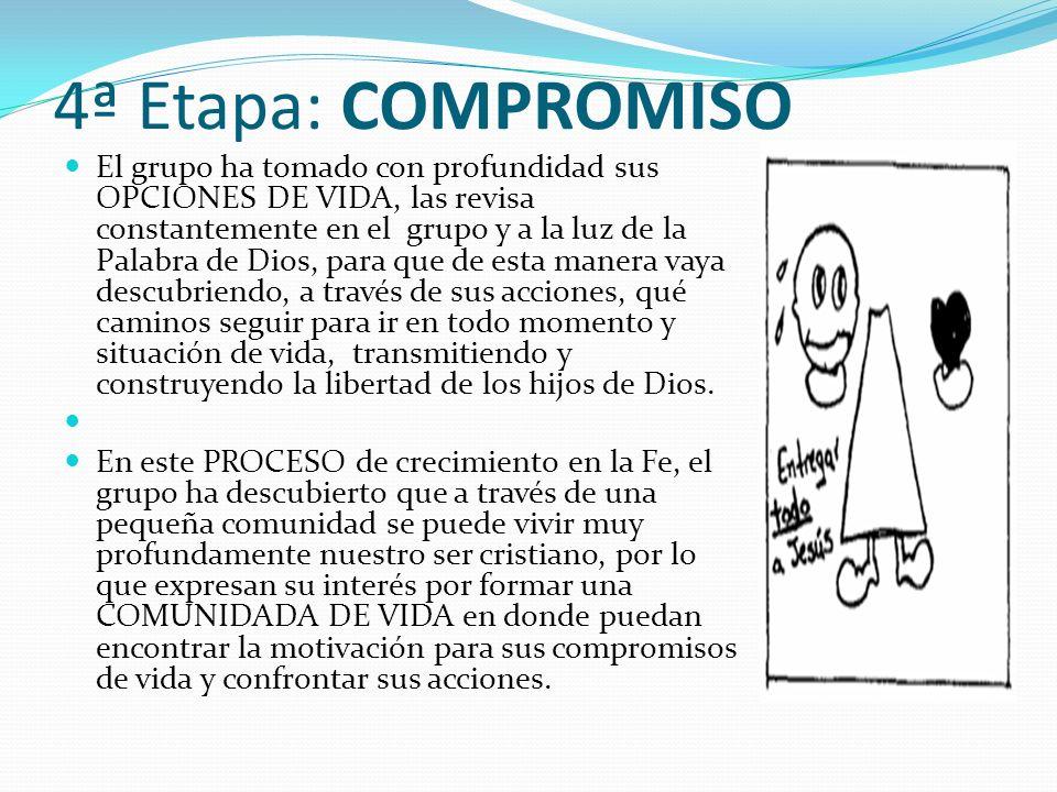 4ª Etapa: COMPROMISO El grupo ha tomado con profundidad sus OPCIONES DE VIDA, las revisa constantemente en el grupo y a la luz de la Palabra de Dios,