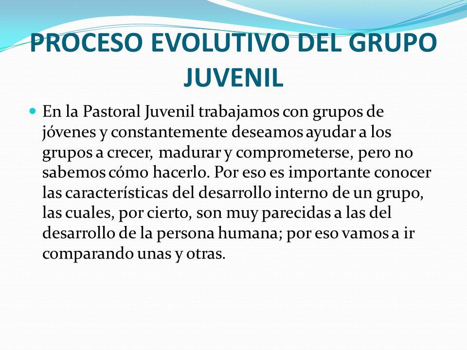 PROCESO EVOLUTIVO DEL GRUPO JUVENIL En la Pastoral Juvenil trabajamos con grupos de jóvenes y constantemente deseamos ayudar a los grupos a crecer, ma