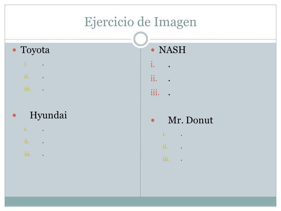 Ejercicio de Imagen Toyota i.. ii.. iii.. Hyundai i.. ii.. iii.. NASH i.. ii.. iii.. Mr. Donut i.. ii.. iii..