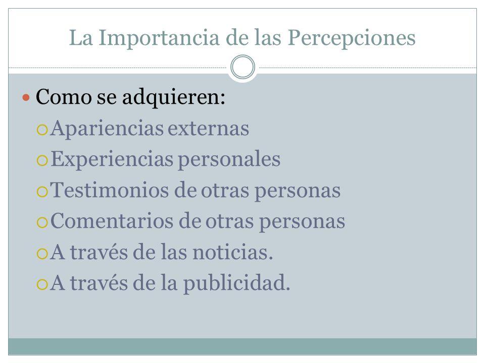 La Importancia de las Percepciones Como se adquieren: Apariencias externas Experiencias personales Testimonios de otras personas Comentarios de otras