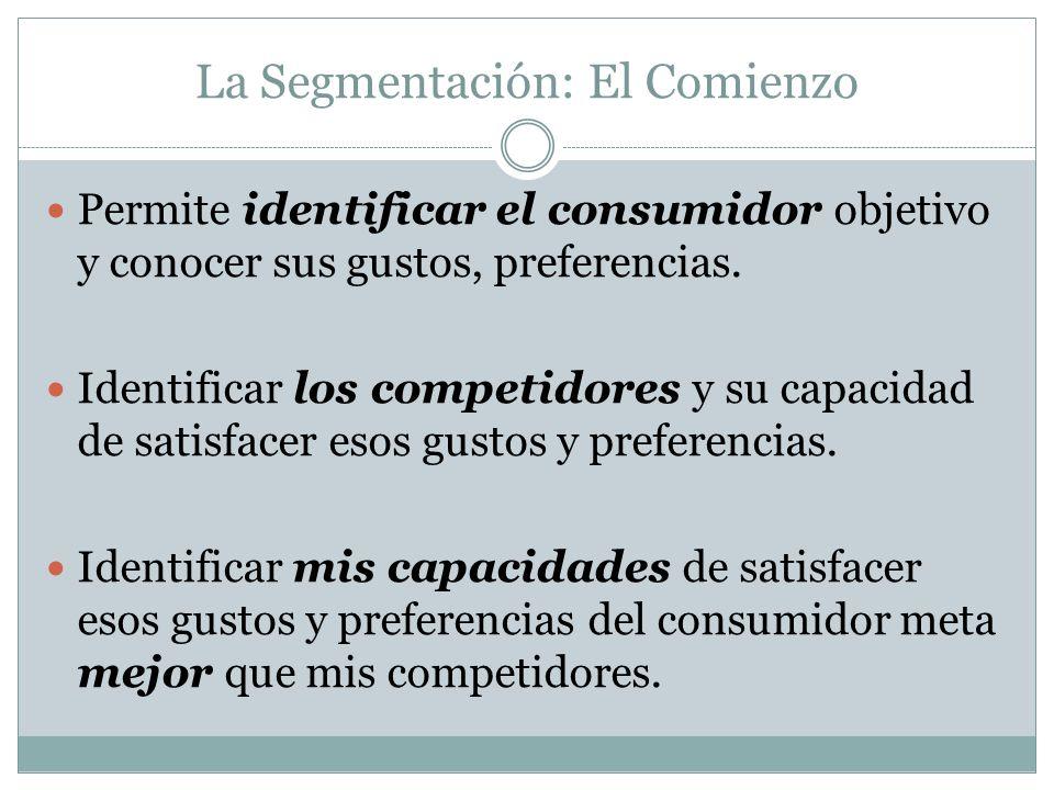 La Segmentación: El Comienzo Permite identificar el consumidor objetivo y conocer sus gustos, preferencias. Identificar los competidores y su capacida