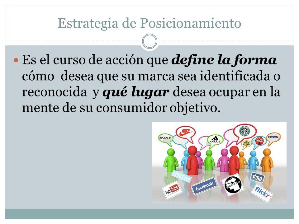 Estrategia de Posicionamiento Es el curso de acción que define la forma cómo desea que su marca sea identificada o reconocida y qué lugar desea ocupar
