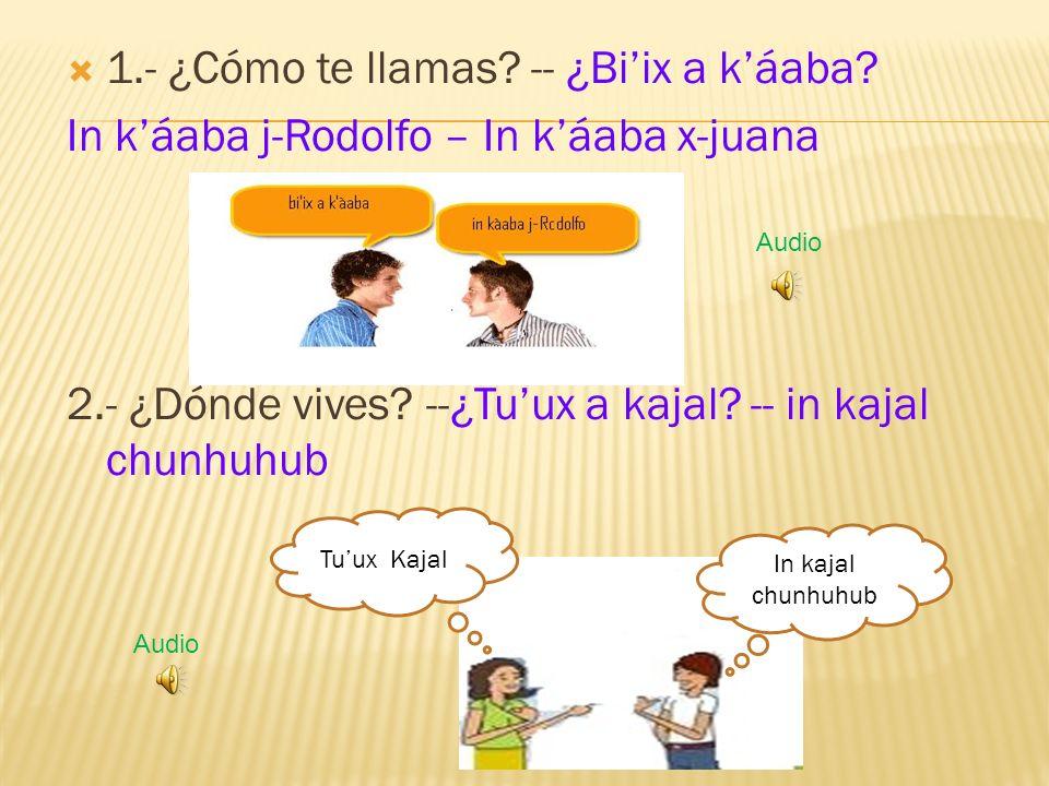 1.- ¿Cómo te llamas. -- ¿Biix a káaba. In káaba j-Rodolfo – In káaba x-juana 2.- ¿Dónde vives.