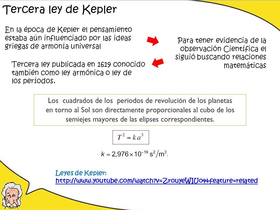 Tercera ley de Kepler En la época de Kepler el pensamiento estaba aún influenciado por las ideas griegas de armonía universal Para tener evidencia de