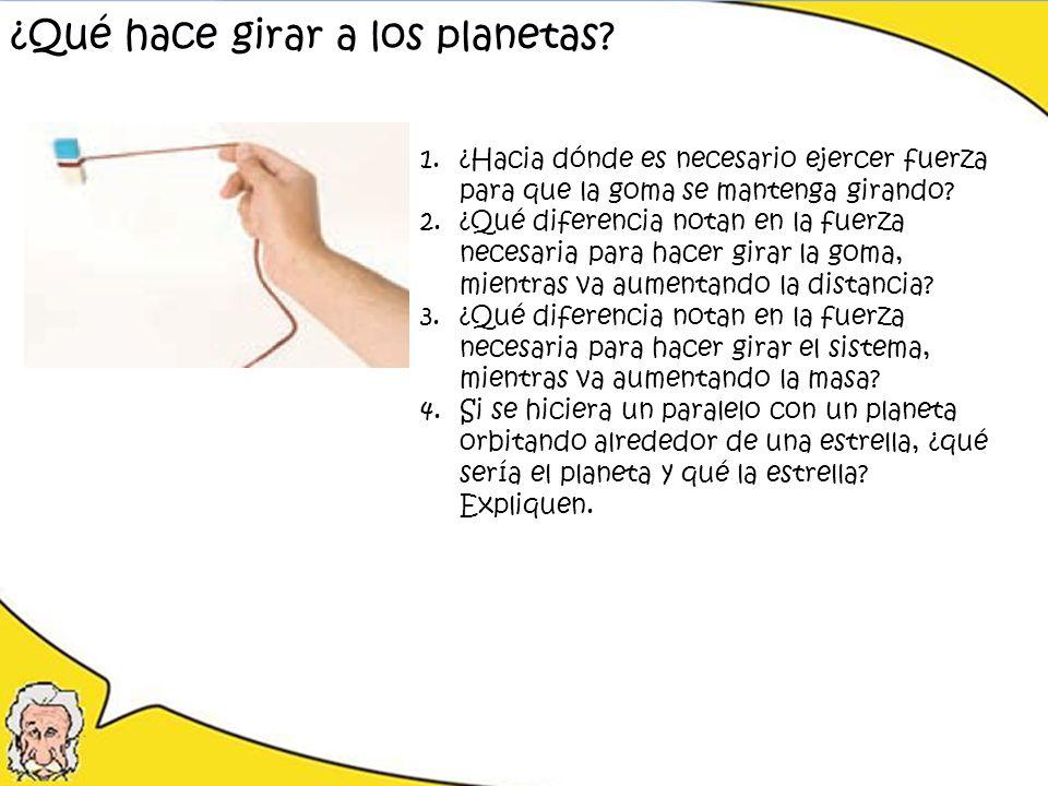 ¿Qué hace girar a los planetas? 1.¿Hacia dónde es necesario ejercer fuerza para que la goma se mantenga girando? 2.¿Qué diferencia notan en la fuerza