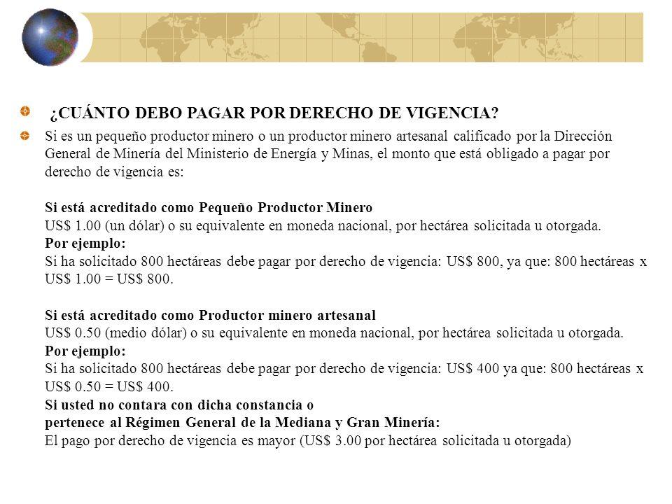 ¿CUÁNTO DEBO PAGAR POR DERECHO DE VIGENCIA? Si es un pequeño productor minero o un productor minero artesanal calificado por la Dirección General de M