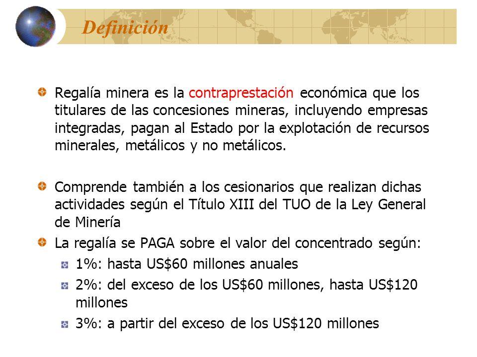 Definición Regalía minera es la contraprestación económica que los titulares de las concesiones mineras, incluyendo empresas integradas, pagan al Esta