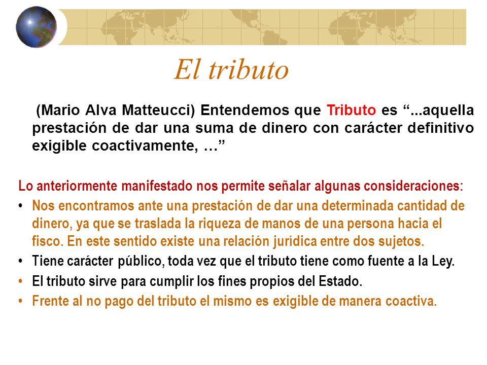 El tributo (Mario Alva Matteucci) Entendemos que Tributo es...aquella prestación de dar una suma de dinero con carácter definitivo exigible coactivame
