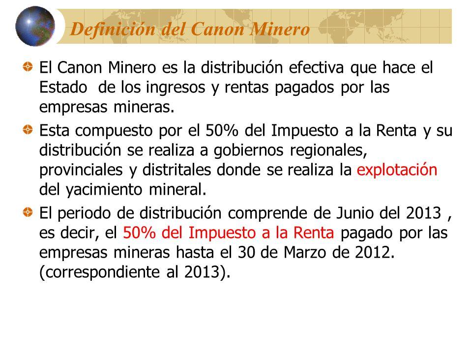 Definición del Canon Minero El Canon Minero es la distribución efectiva que hace el Estado de los ingresos y rentas pagados por las empresas mineras.
