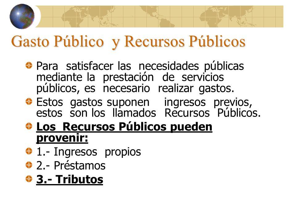 Gasto Público y Recursos Públicos Para satisfacer las necesidades públicas mediante la prestación de servicios públicos, es necesario realizar gastos.
