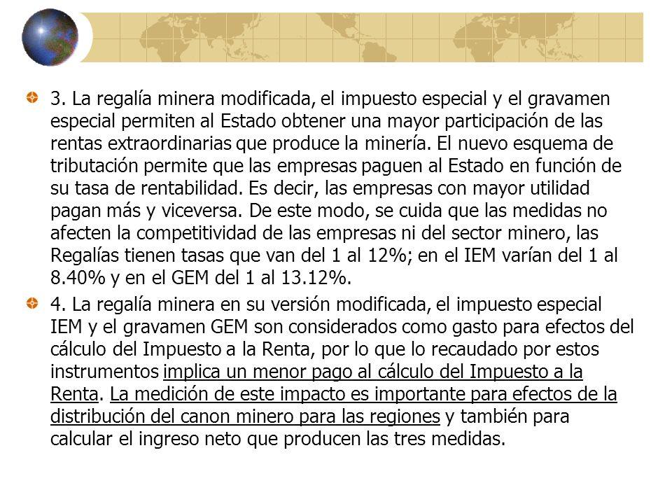 3. La regalía minera modificada, el impuesto especial y el gravamen especial permiten al Estado obtener una mayor participación de las rentas extraord