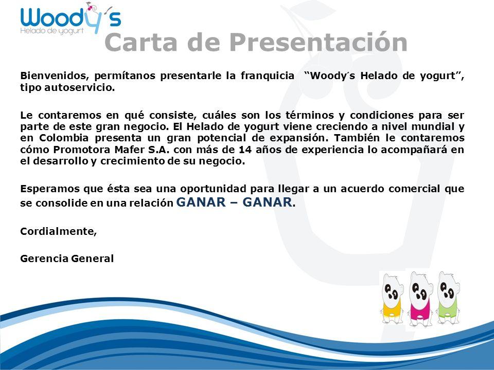 Carta de Presentación Bienvenidos, permítanos presentarle la franquicia Woody´s Helado de yogurt, tipo autoservicio.