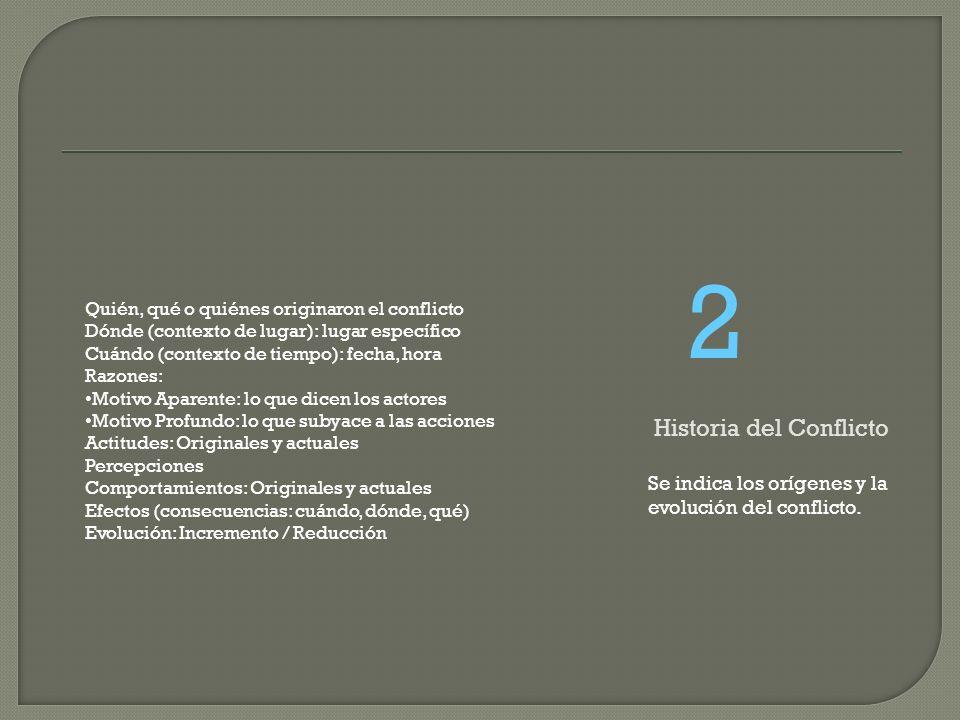 Se indica los orígenes y la evolución del conflicto. 2 Historia del Conflicto Quién, qué o quiénes originaron el conflicto Dónde (contexto de lugar):