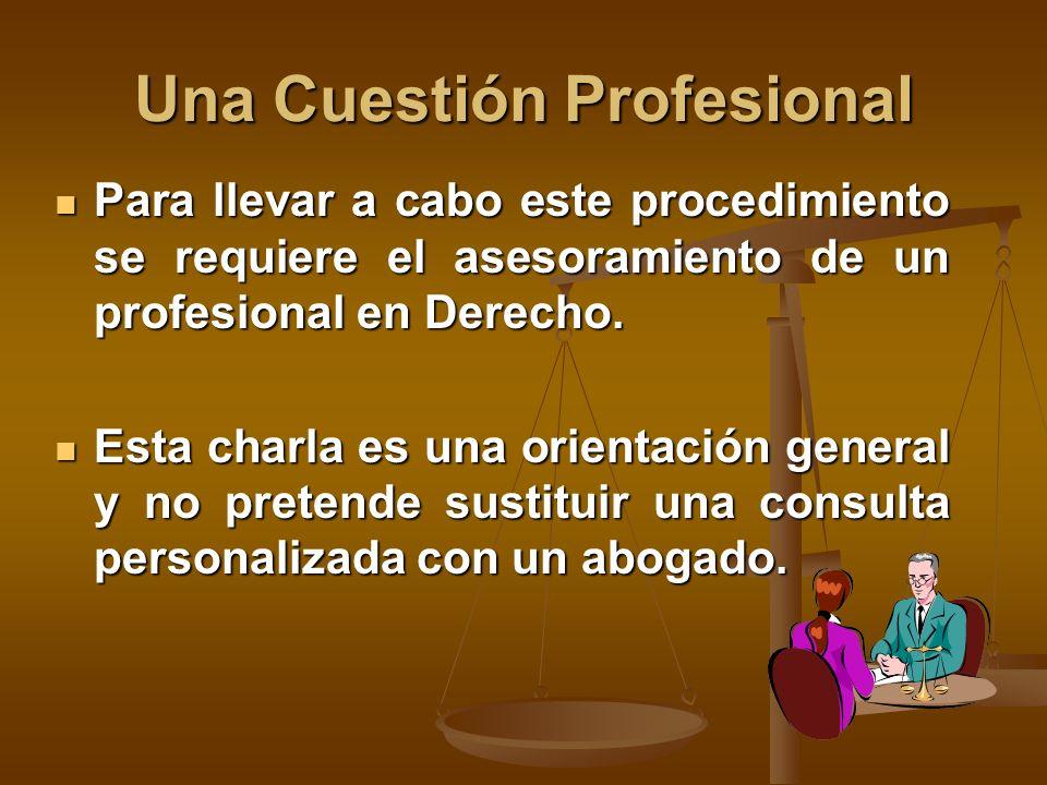 Una Cuestión Profesional Para llevar a cabo este procedimiento se requiere el asesoramiento de un profesional en Derecho.