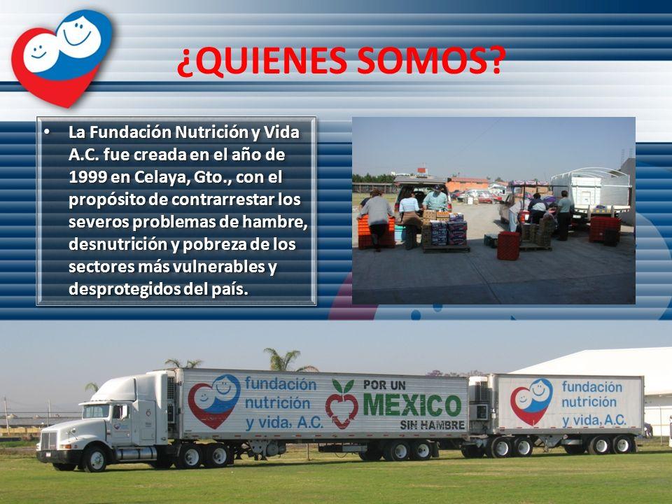 ¿QUIENES SOMOS? La Fundación Nutrición y Vida A.C. fue creada en el año de 1999 en Celaya, Gto., con el propósito de contrarrestar los severos problem