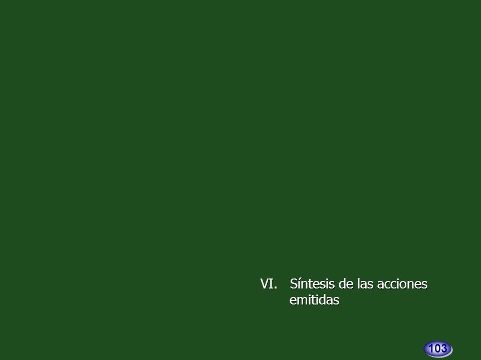 VI. Síntesis de las acciones VI. Síntesis de las accionesemitidas 103
