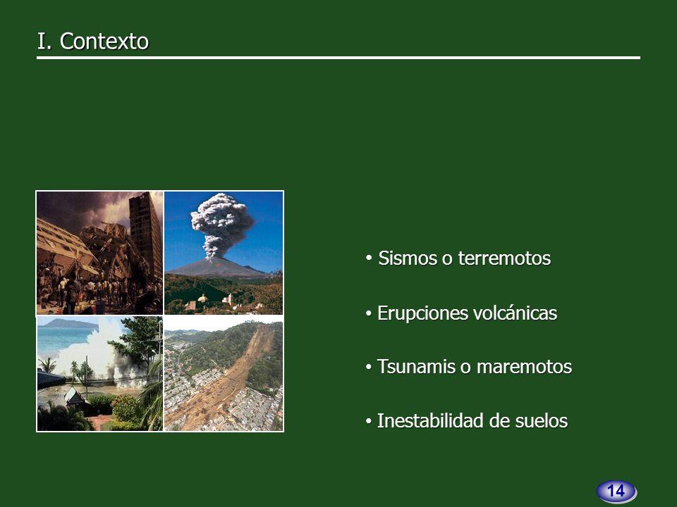 Sismos o terremotos Erupciones volcánicas Erupciones volcánicas Tsunamis o maremotos Tsunamis o maremotos Inestabilidad de suelos Inestabilidad de suelos I.