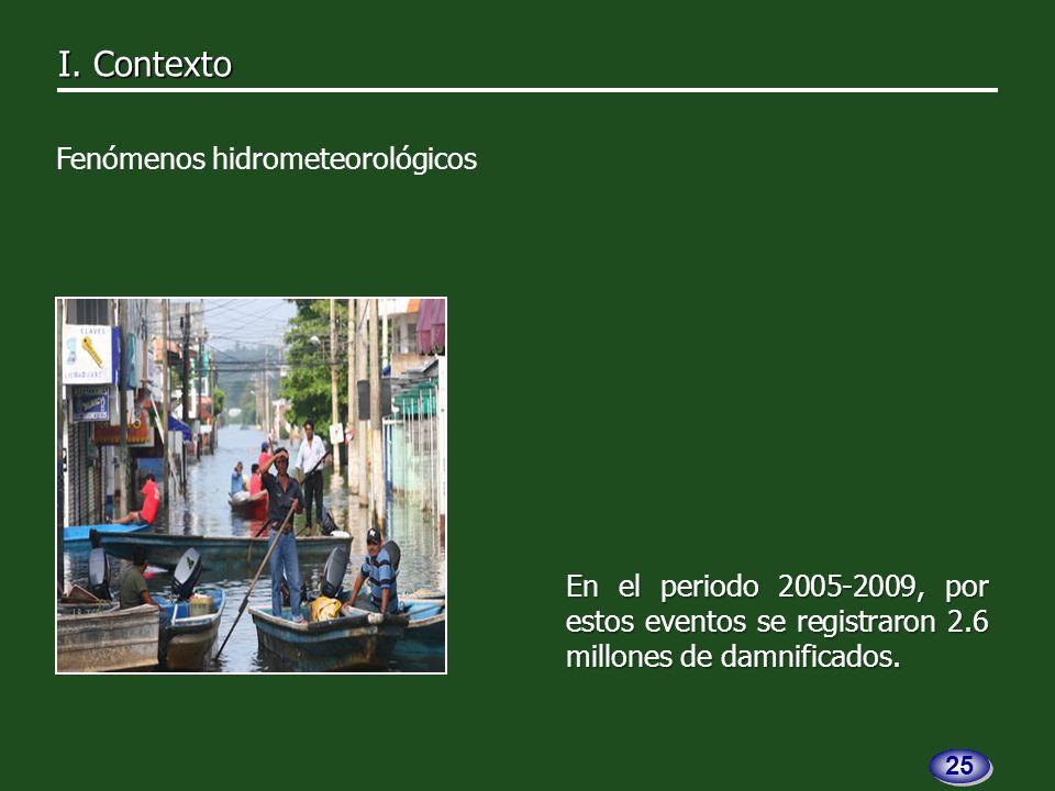 En el periodo 2005-2009, por estos eventos se registraron 2.6 millones de damnificados.