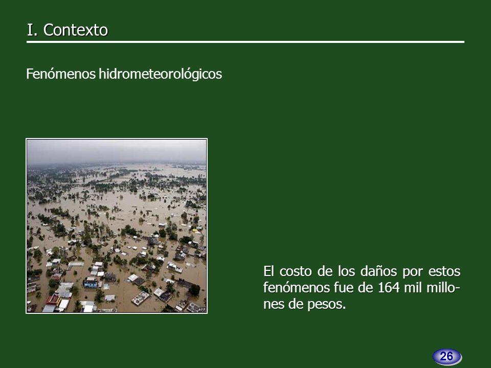 El costo de los daños por estos fenómenos fue de 164 mil millo- nes de pesos El costo de los daños por estos fenómenos fue de 164 mil millo- nes de pesos.