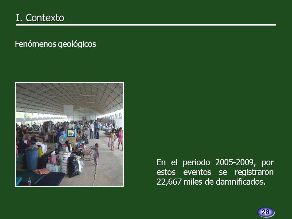 En el periodo 2005-2009, por estos eventos se registraron 22,667 miles de damnificados.