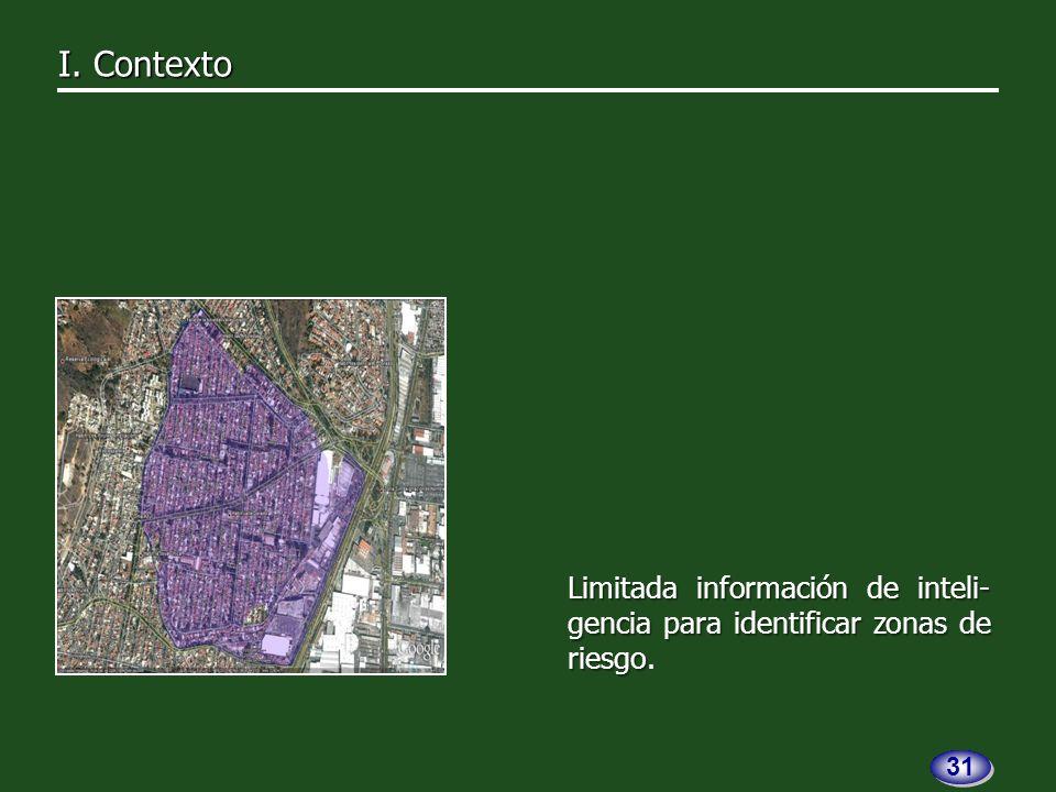 Limitada información de inteli- gencia para identificar zonas de riesgo Limitada información de inteli- gencia para identificar zonas de riesgo.