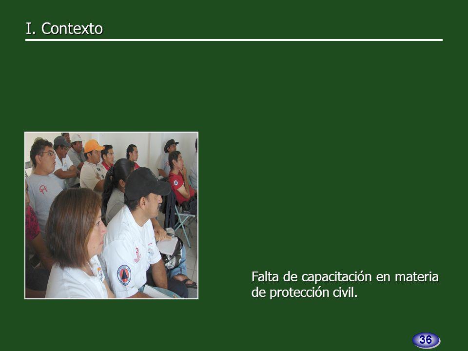 Falta de capacitación en materia de protección civil. I. Contexto I. Contexto 36