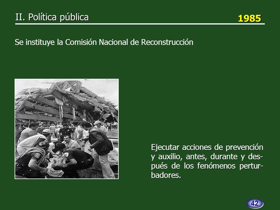1985 1985 Ejecutar acciones de prevención y auxilio, antes, durante y des- pués de los fenómenos pertur- badores.