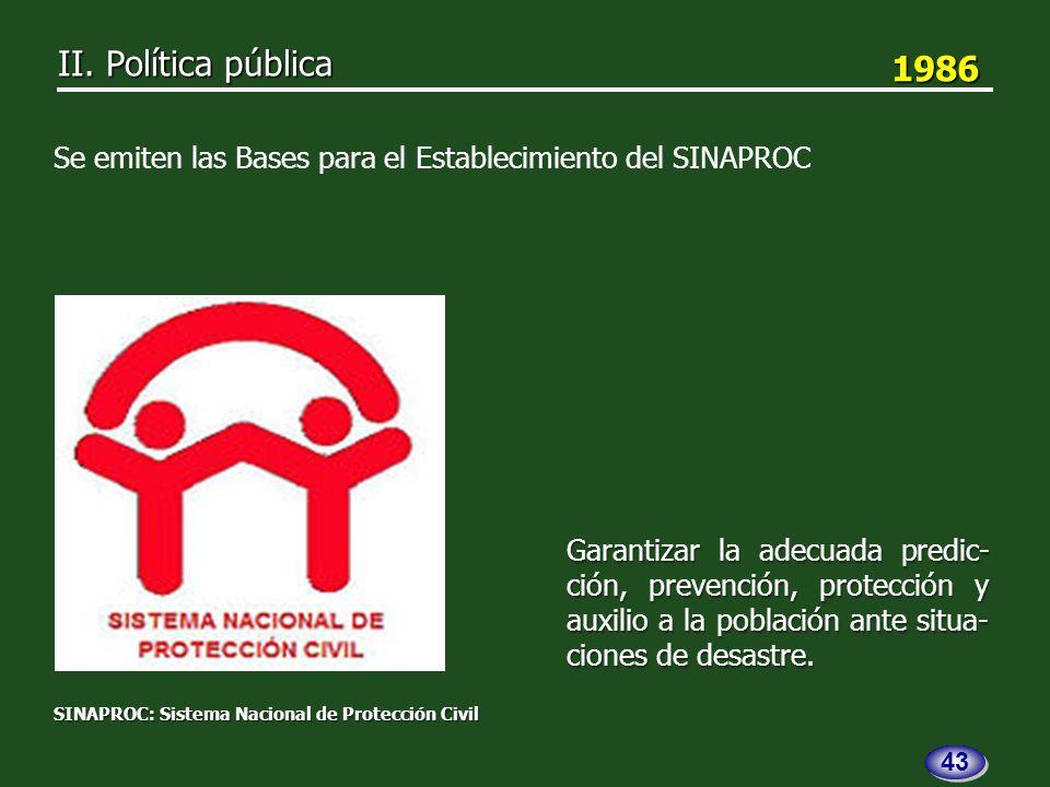 1986 1986 Garantizar la adecuada predic- ción, prevención, protección y auxilio a la población ante situa- ciones de desastre.
