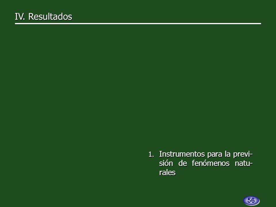 1. Instrumentos para la previ- sión de fenómenos natu- rales IV. Resultados 56