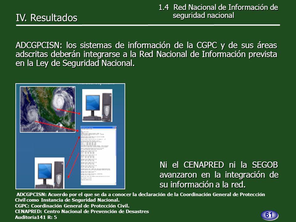 ADCGPCISN: los sistemas de información de la CGPC y de sus áreas adscritas deberán integrarse a la Red Nacional de Información prevista en la Ley de Seguridad Nacional.