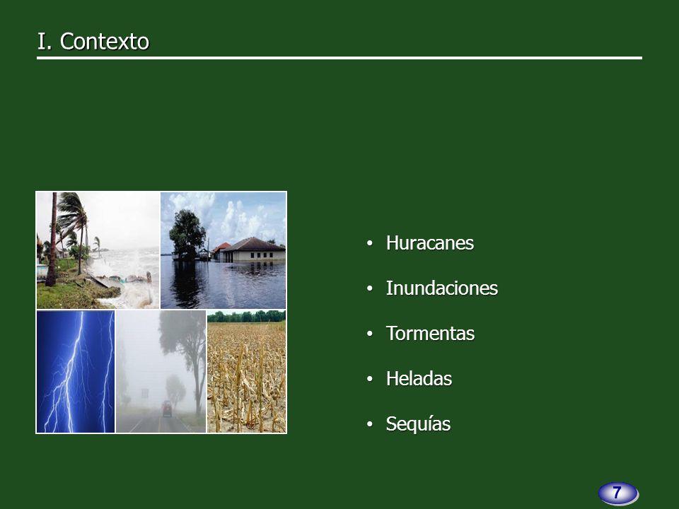 Huracanes Huracanes Inundaciones Inundaciones Tormentas Tormentas Heladas Heladas Sequías Sequías 7 7
