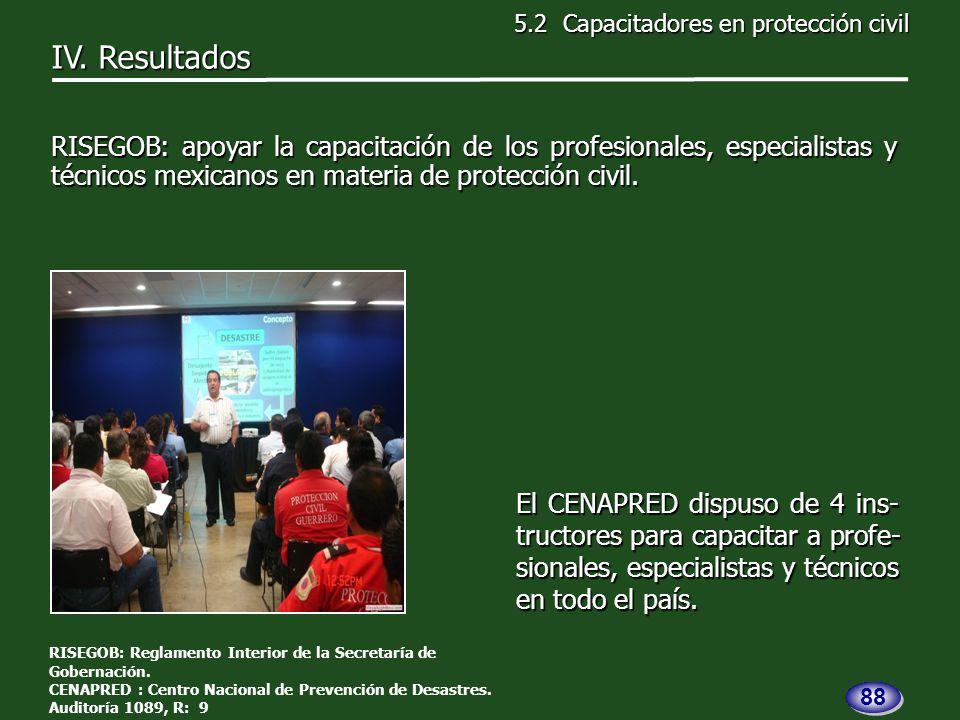 El CENAPRED dispuso de 4 ins- tructores para capacitar a profe- sionales, especialistas y técnicos en todo el país.