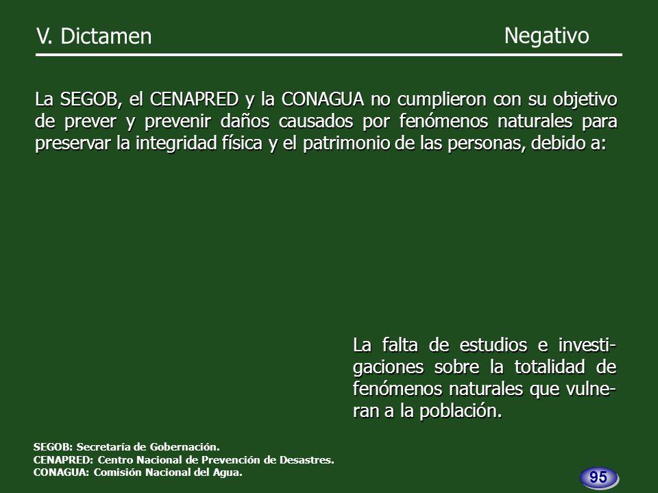 V. Dictamen Negativo La SEGOB, el CENAPRED y la CONAGUA no cumplieron con su objetivo de prever y prevenir daños causados por fenómenos naturales para
