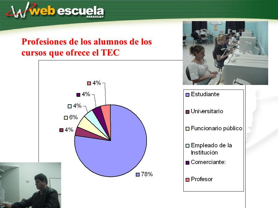 Profesiones de los alumnos de los cursos que ofrece el TEC