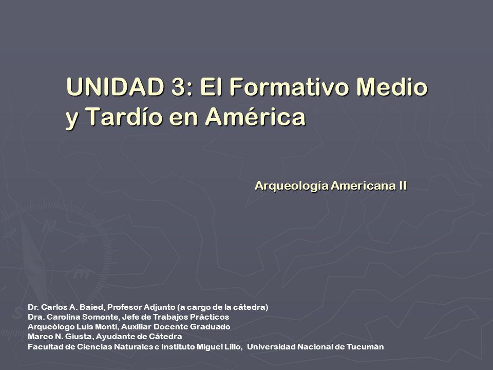 UNIDAD 3: El Formativo Medio y Tardío en América Arqueología Americana II Dr. Carlos A. Baied, Profesor Adjunto (a cargo de la cátedra) Dra. Carolina