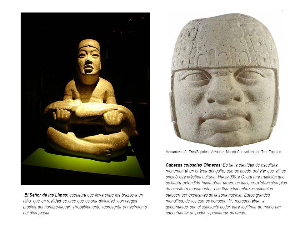 Cabezas colosales Olmecas: Es tal la cantidad de escultura monumental en el área del golfo, que se puede señalar que allí se originó esa práctica cult