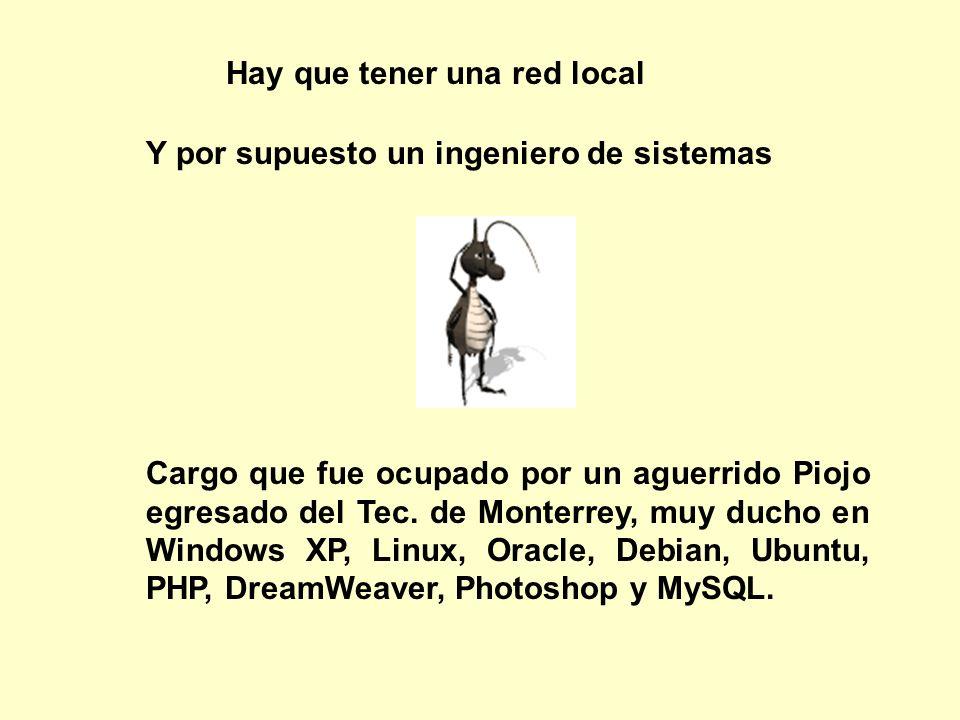 Hay que tener una red local Cargo que fue ocupado por un aguerrido Piojo egresado del Tec. de Monterrey, muy ducho en Windows XP, Linux, Oracle, Debia