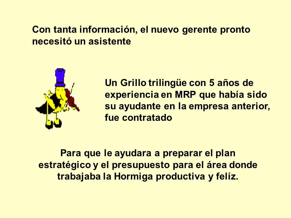 Con tanta información, el nuevo gerente pronto necesitó un asistente Un Grillo trilingüe con 5 años de experiencia en MRP que había sido su ayudante e