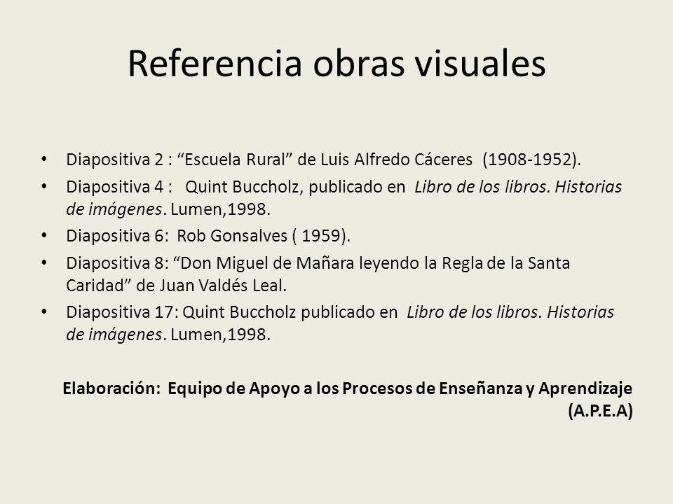 Referencia obras visuales Diapositiva 2 : Escuela Rural de Luis Alfredo Cáceres (1908-1952). Diapositiva 4 : Quint Buccholz, publicado en Libro de los