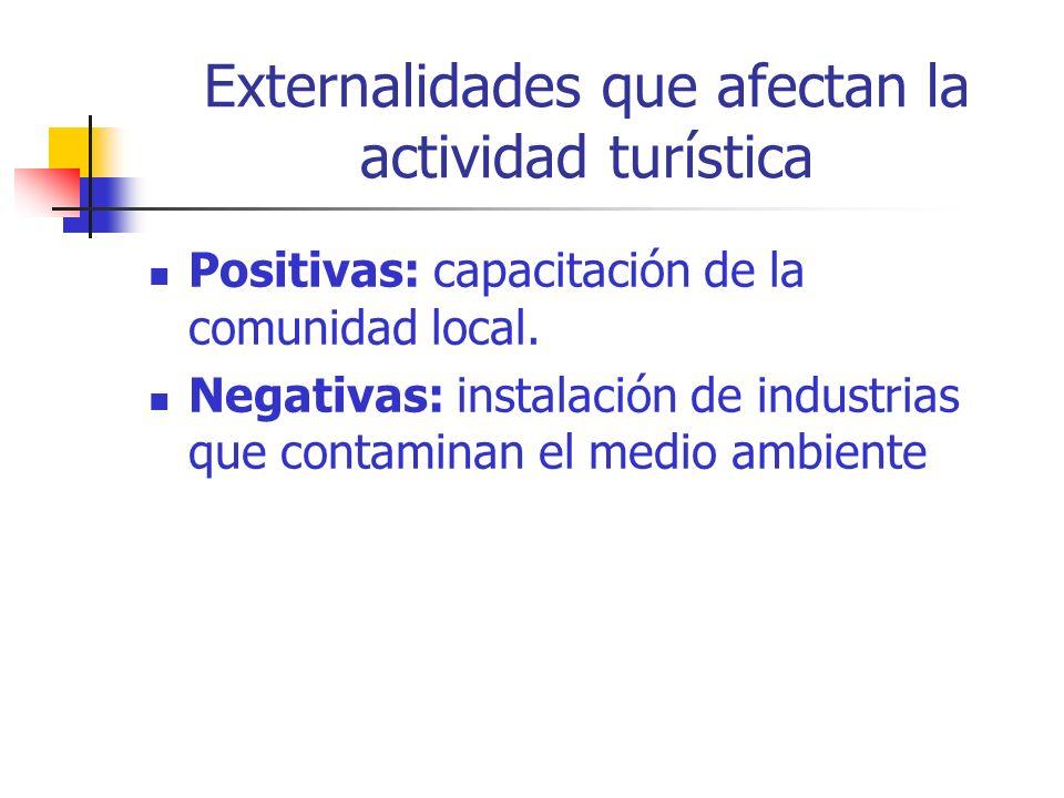 Externalidades que afectan la actividad turística Positivas: capacitación de la comunidad local.