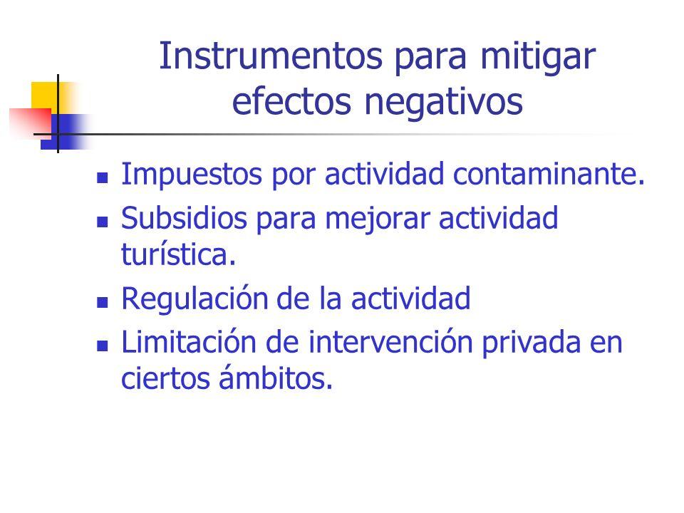 Instrumentos para mitigar efectos negativos Impuestos por actividad contaminante.
