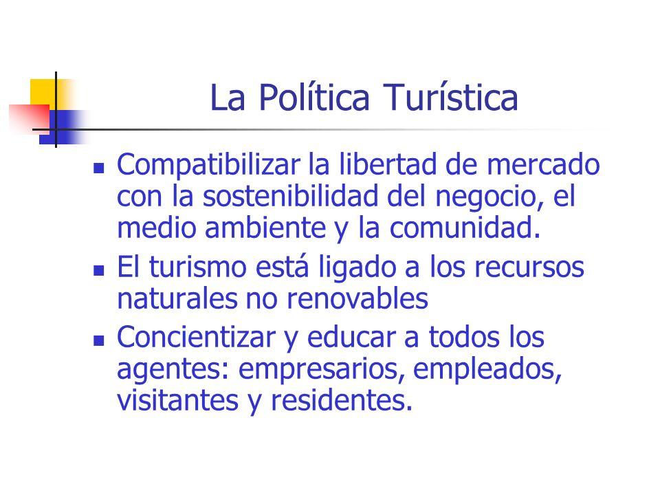 La Política Turística Compatibilizar la libertad de mercado con la sostenibilidad del negocio, el medio ambiente y la comunidad.