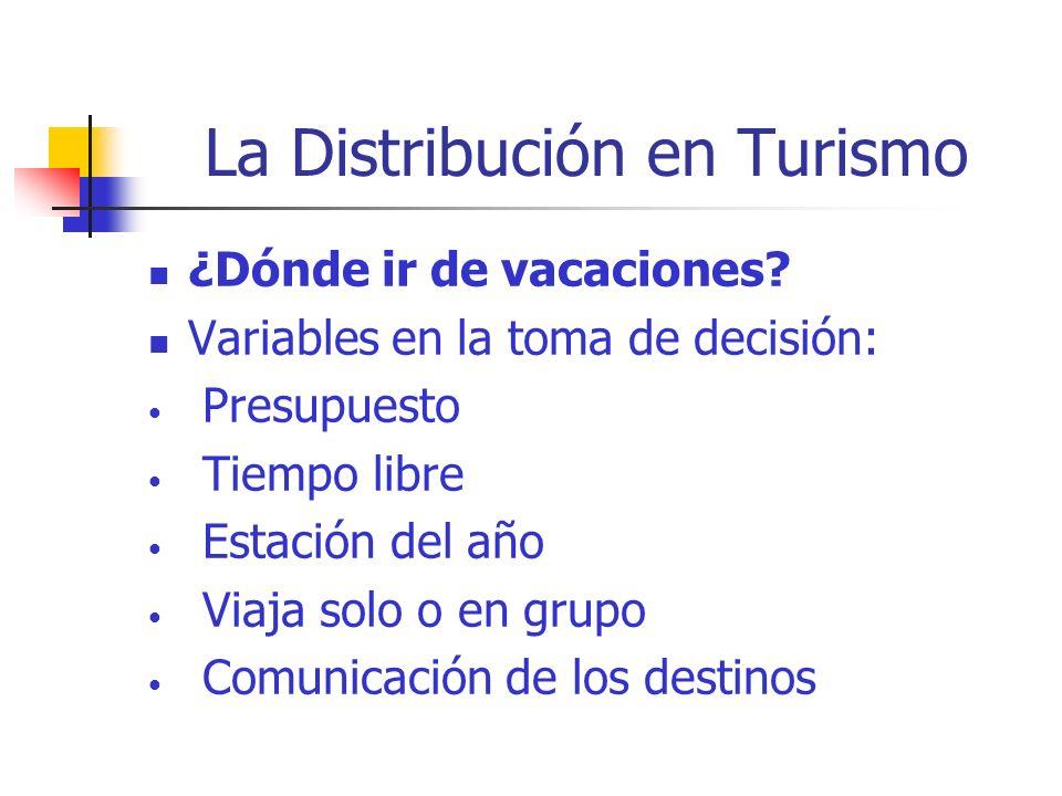La Distribución en Turismo Distribución y comunicación en turismo van juntas por ser a la vez un producto / servicio.