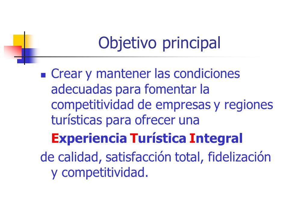 Objetivo principal Crear y mantener las condiciones adecuadas para fomentar la competitividad de empresas y regiones turísticas para ofrecer una Experiencia Turística Integral de calidad, satisfacción total, fidelización y competitividad.