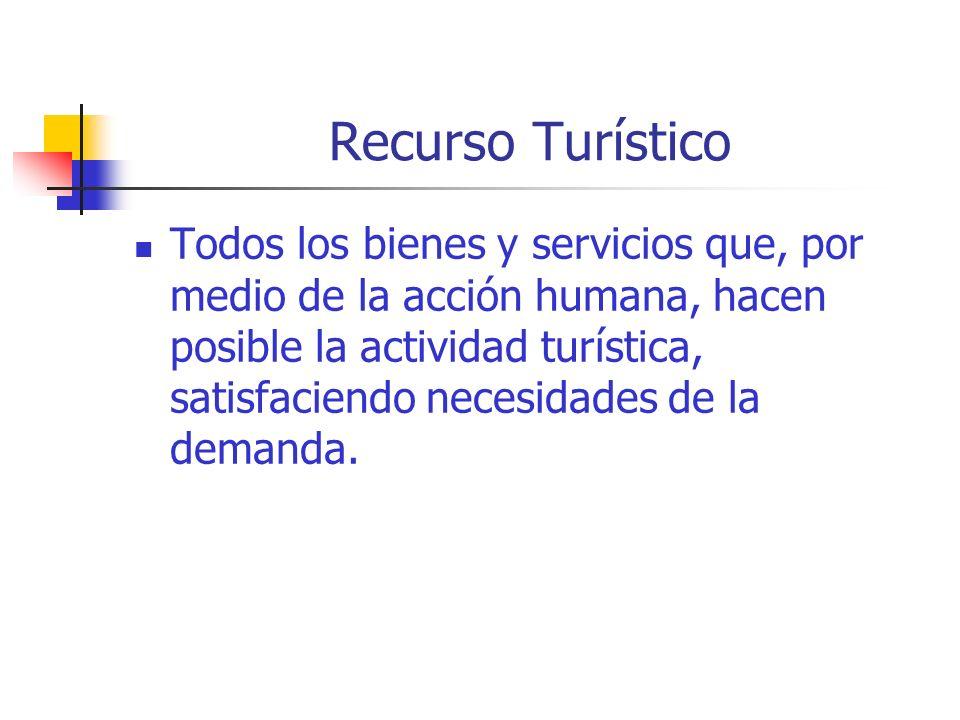 Recurso Turístico Todos los bienes y servicios que, por medio de la acción humana, hacen posible la actividad turística, satisfaciendo necesidades de la demanda.