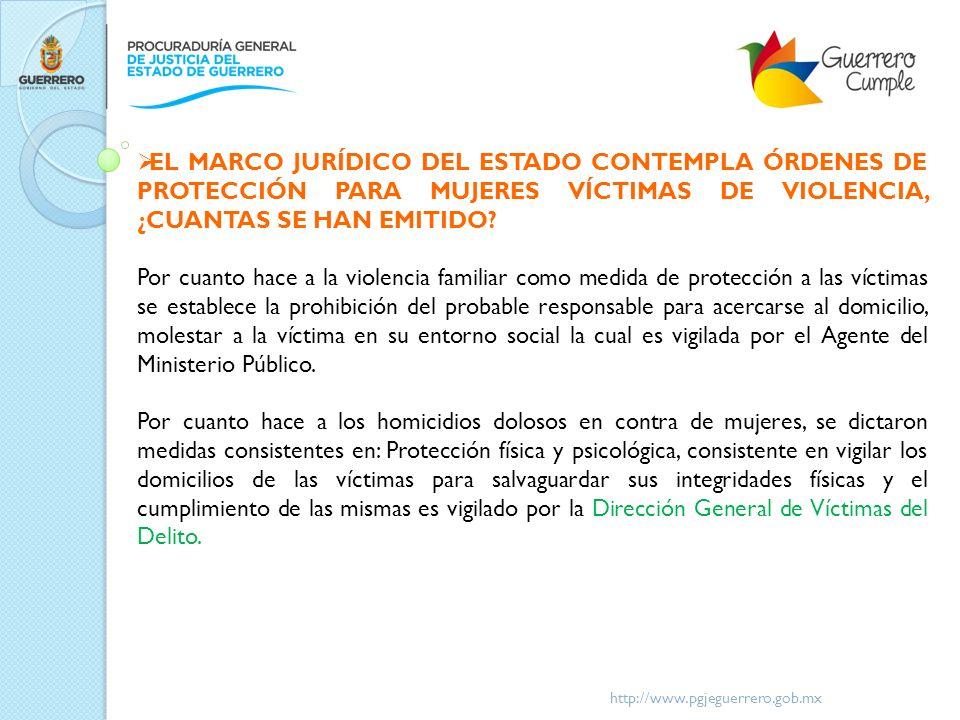 http://www.pgjeguerrero.gob.mx EL MARCO JURÍDICO DEL ESTADO CONTEMPLA ÓRDENES DE PROTECCIÓN PARA MUJERES VÍCTIMAS DE VIOLENCIA, ¿CUANTAS SE HAN EMITID